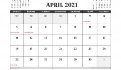 Free Printable April 2021 Calendar Australia