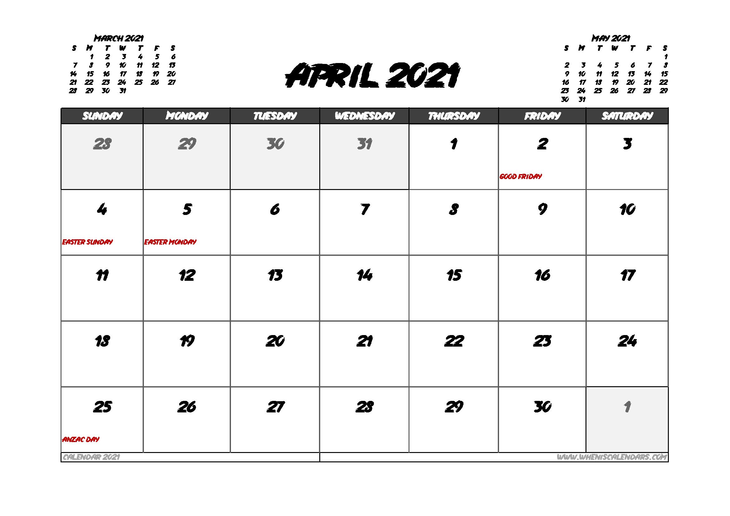 April 2021 Calendar Australia with Holidays