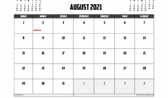 Free Printable August 2021 Calendar Australia