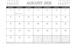 August 2021 Calendar Australia Printable