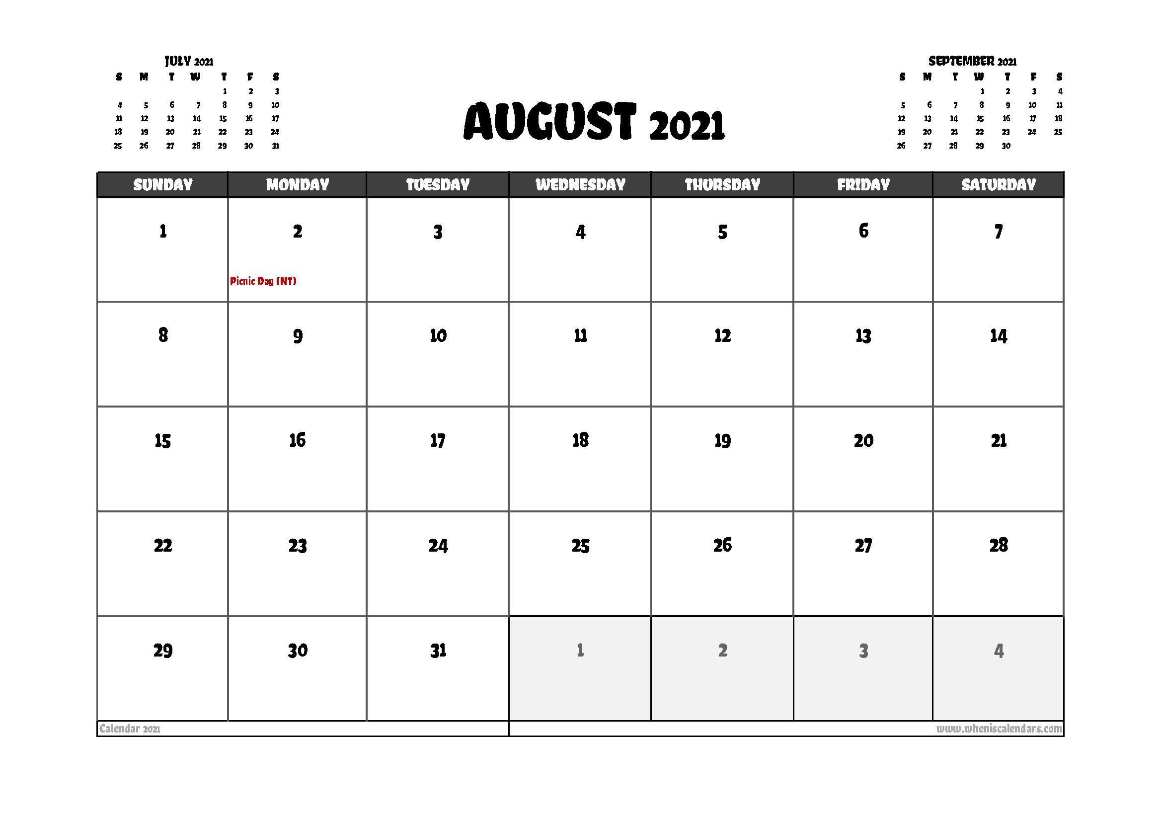 Free August 2021 Calendar Australia Printable