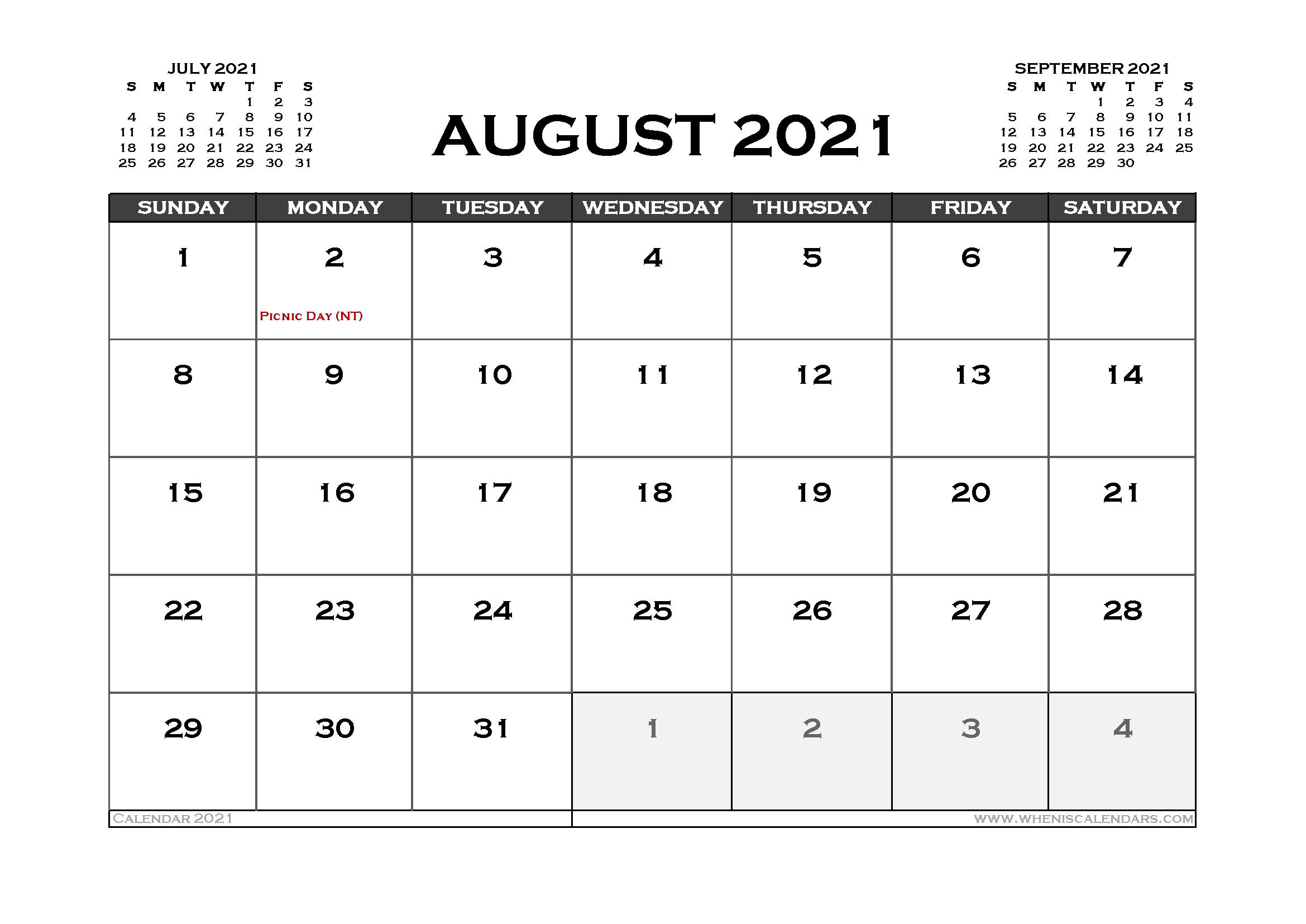Printable August 2021 Calendar Australia