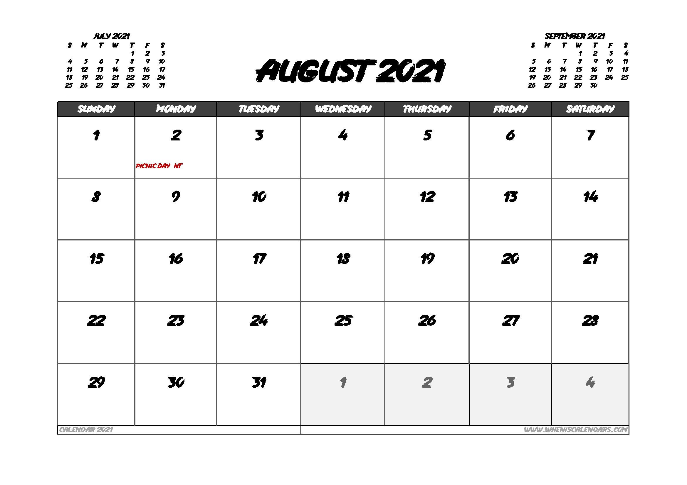 August 2021 Calendar Australia with Holidays