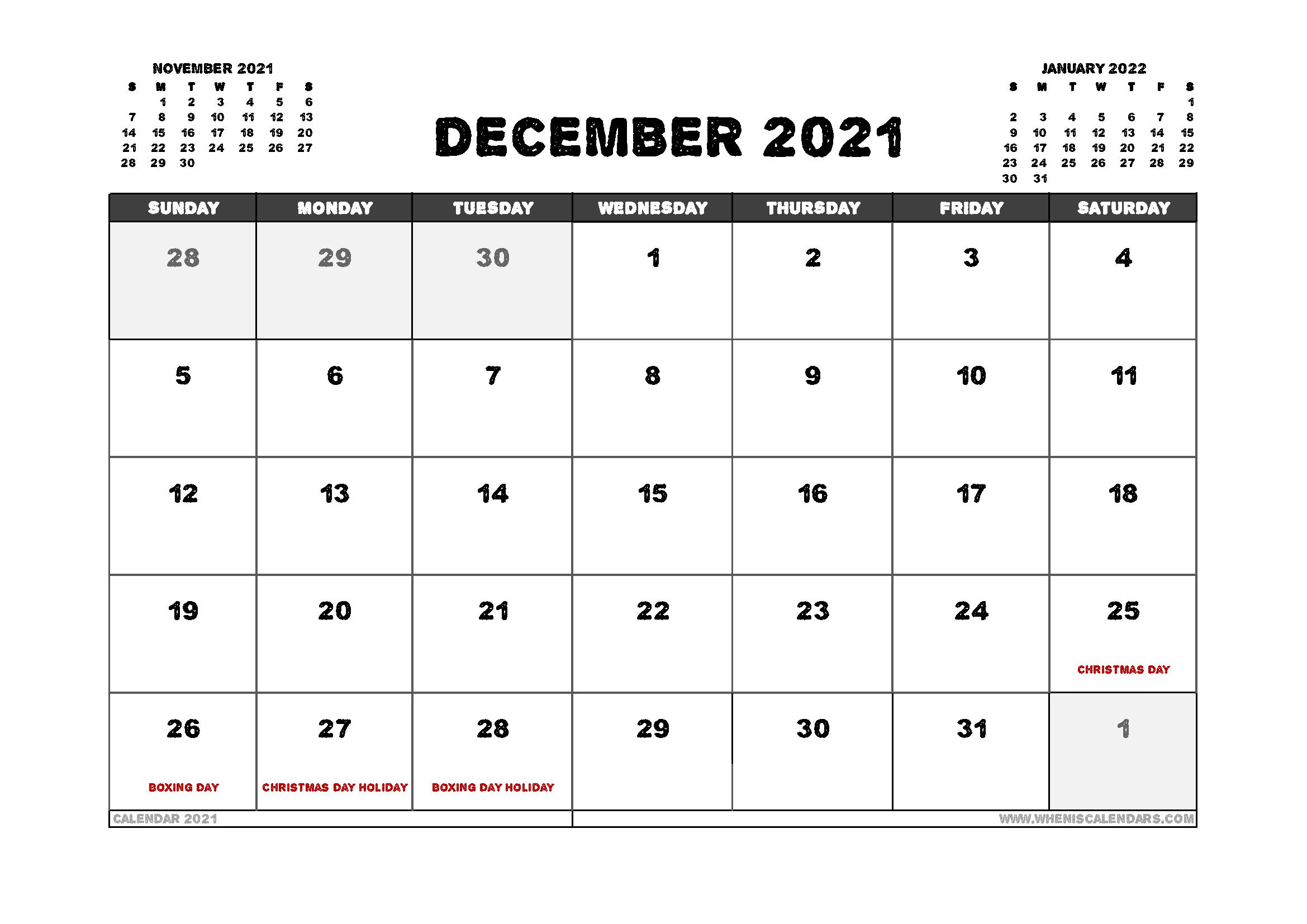 Free December 2021 Calendar Australia Printable 12 ...