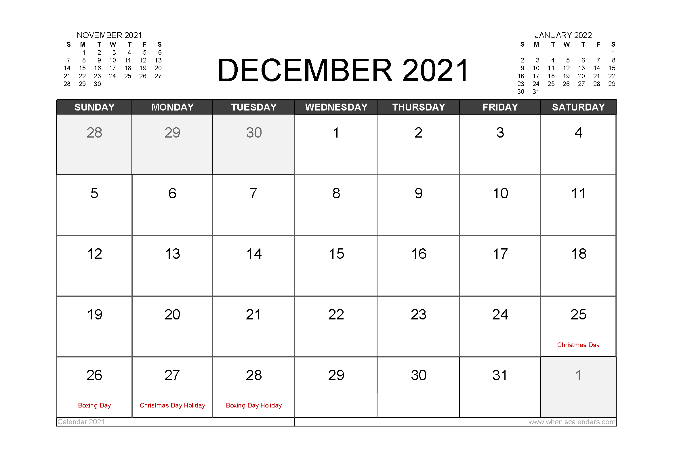 December 2021 Calendar Australia with Holidays