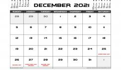 December 2021 Calendar Australia Printable