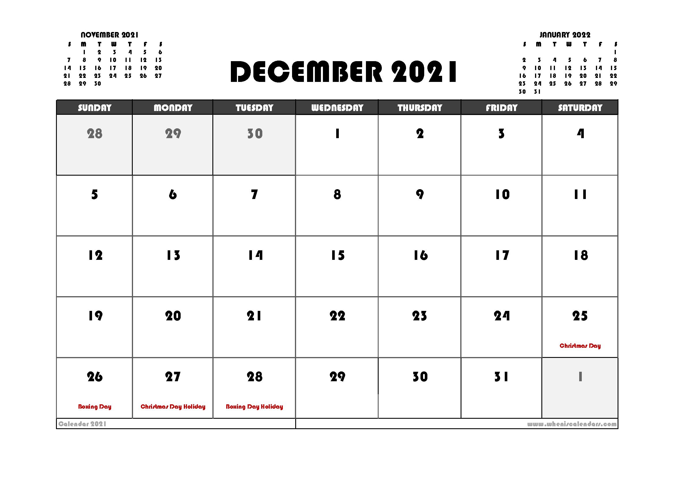 Free December 2021 Calendar Australia Printable