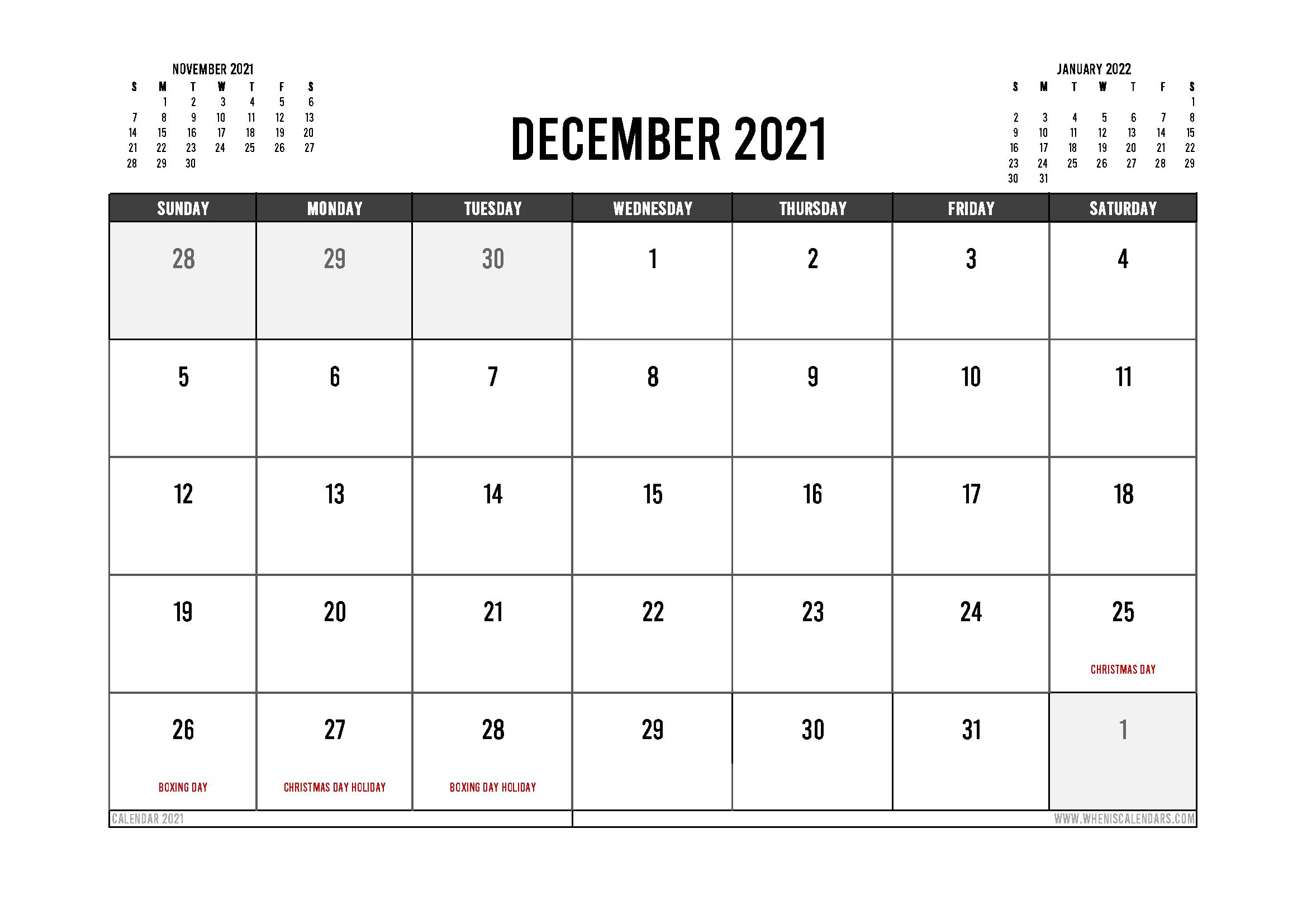 Printable December 2021 Calendar Australia