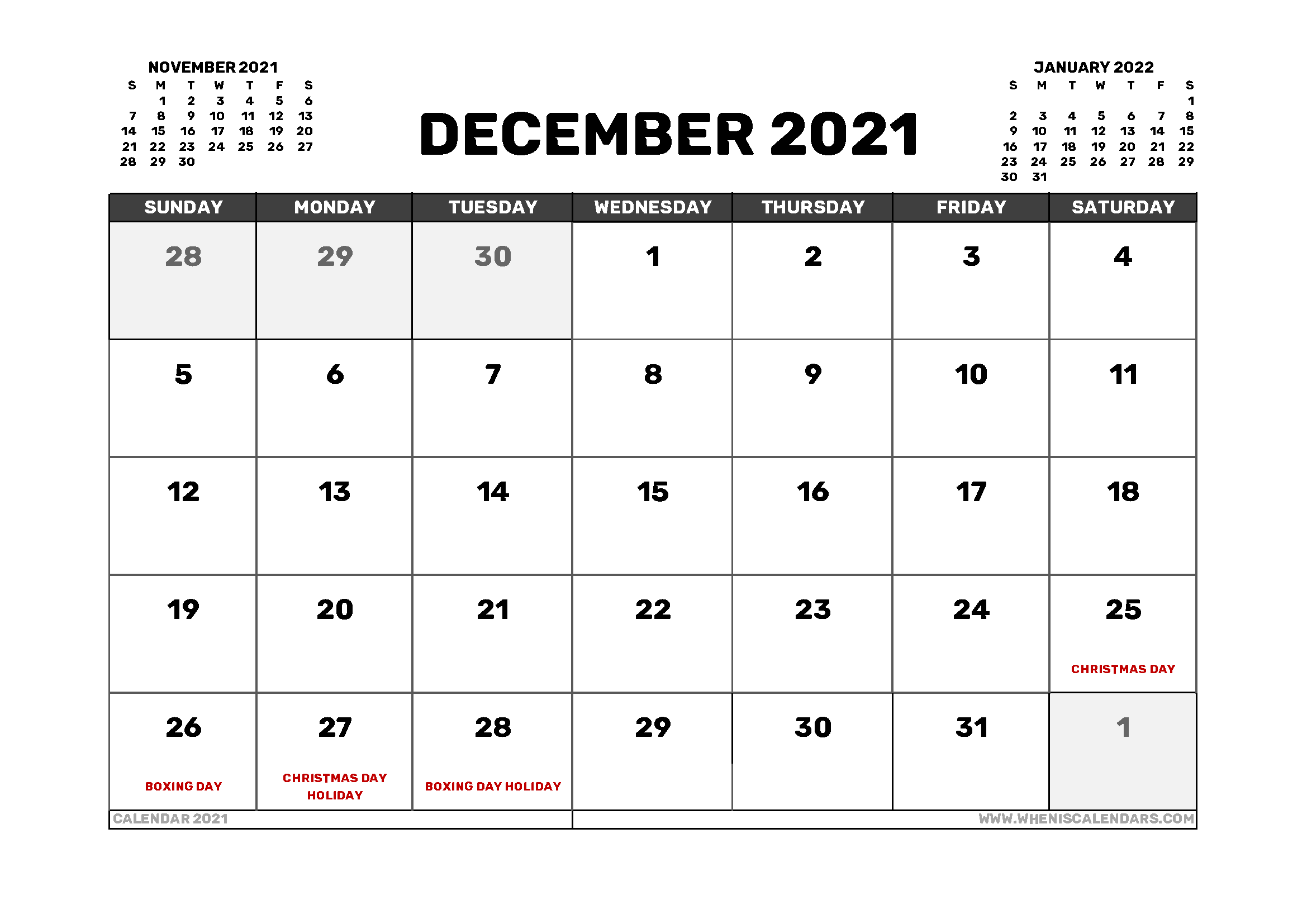 December 2021 Calendar Australia with Holidays