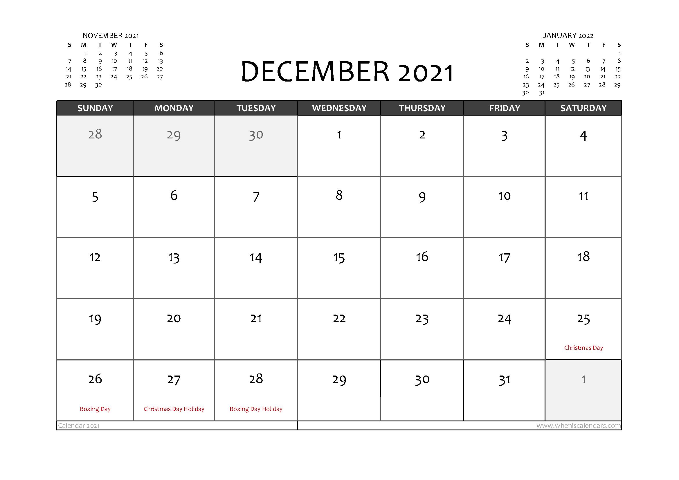 Free Printable December 2021 Calendar Australia