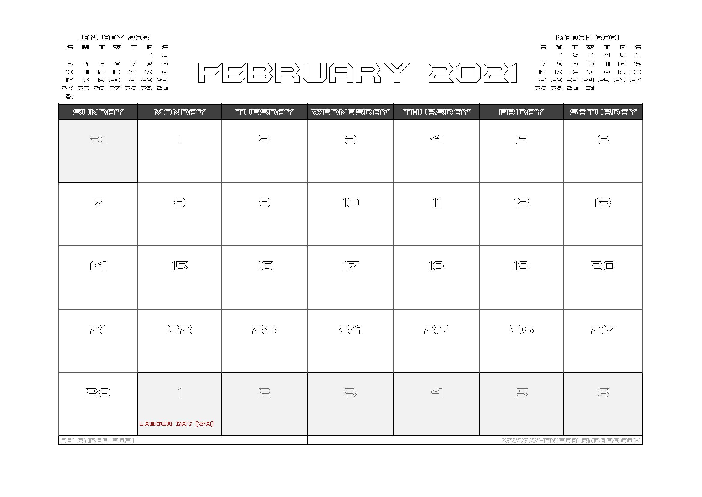 February 2021 Calendar Australia with Holidays