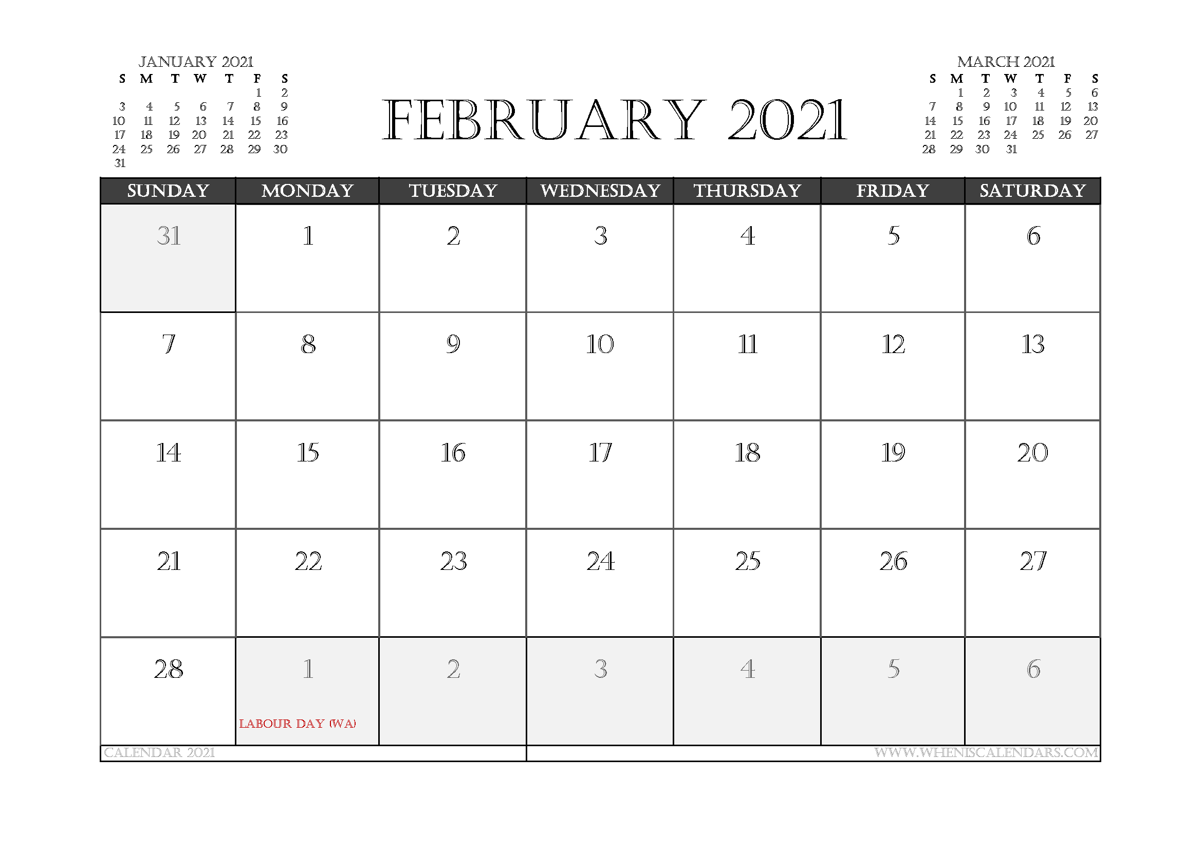 February 2021 Calendar Australia Printable