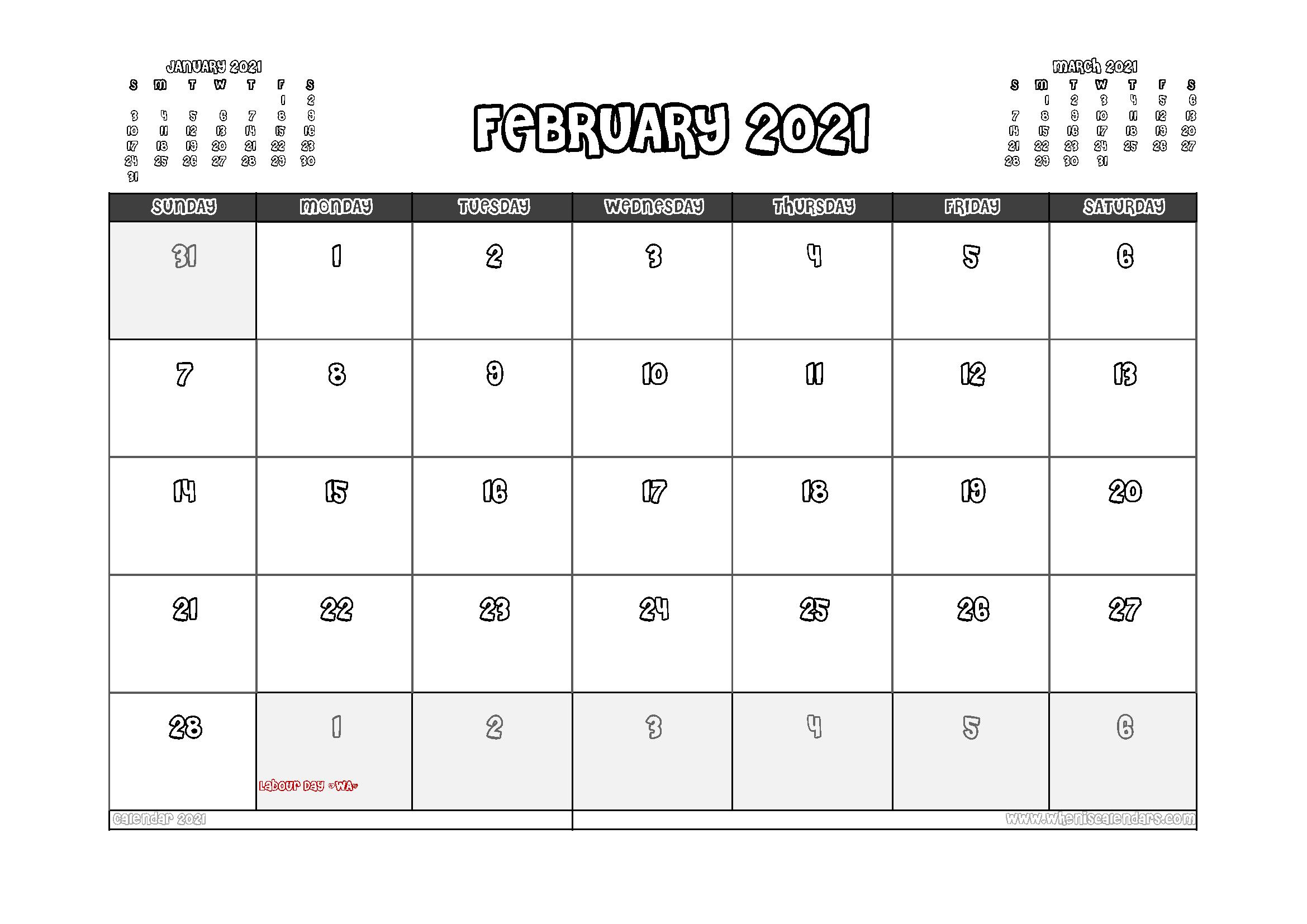 Free Printable February 2021 Calendar Australia