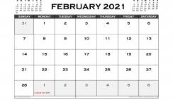 Printable February 2021 Calendar Australia
