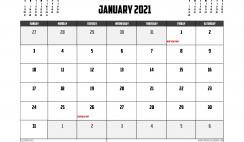 Free Printable January 2021 Calendar Australia