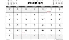 Printable January 2021 Calendar Australia