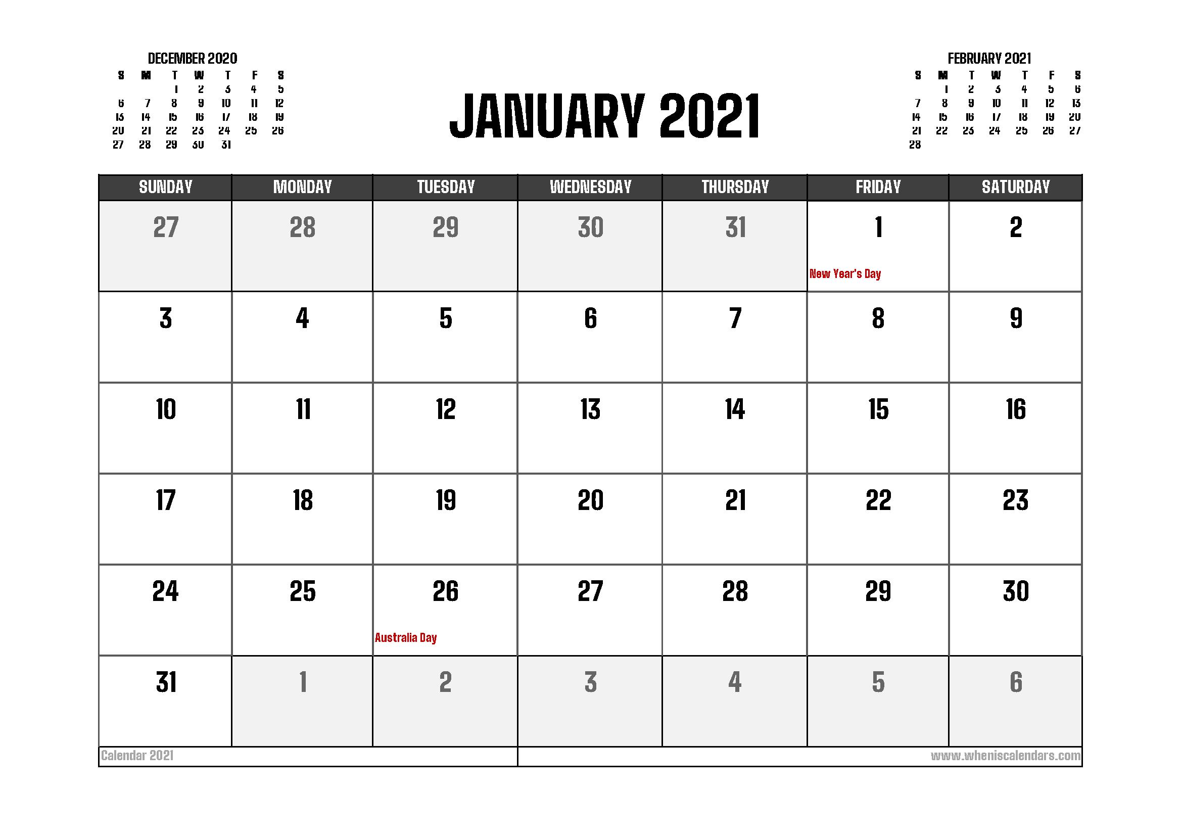 January 2021 Calendar Australia Printable - Free 2020 and ...