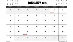 Free January 2021 Calendar Australia Printable