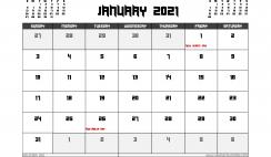 January 2021 Calendar Australia Printable