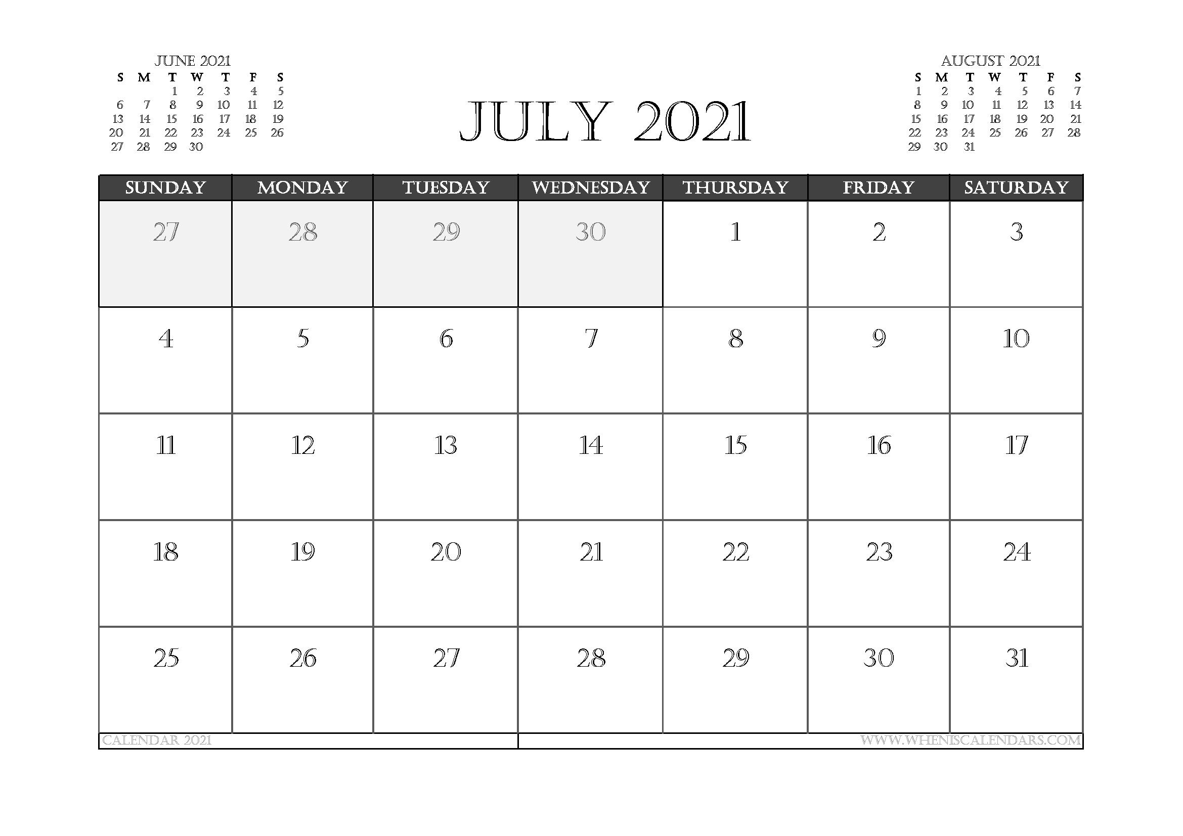 July 2021 Calendar Australia Printable