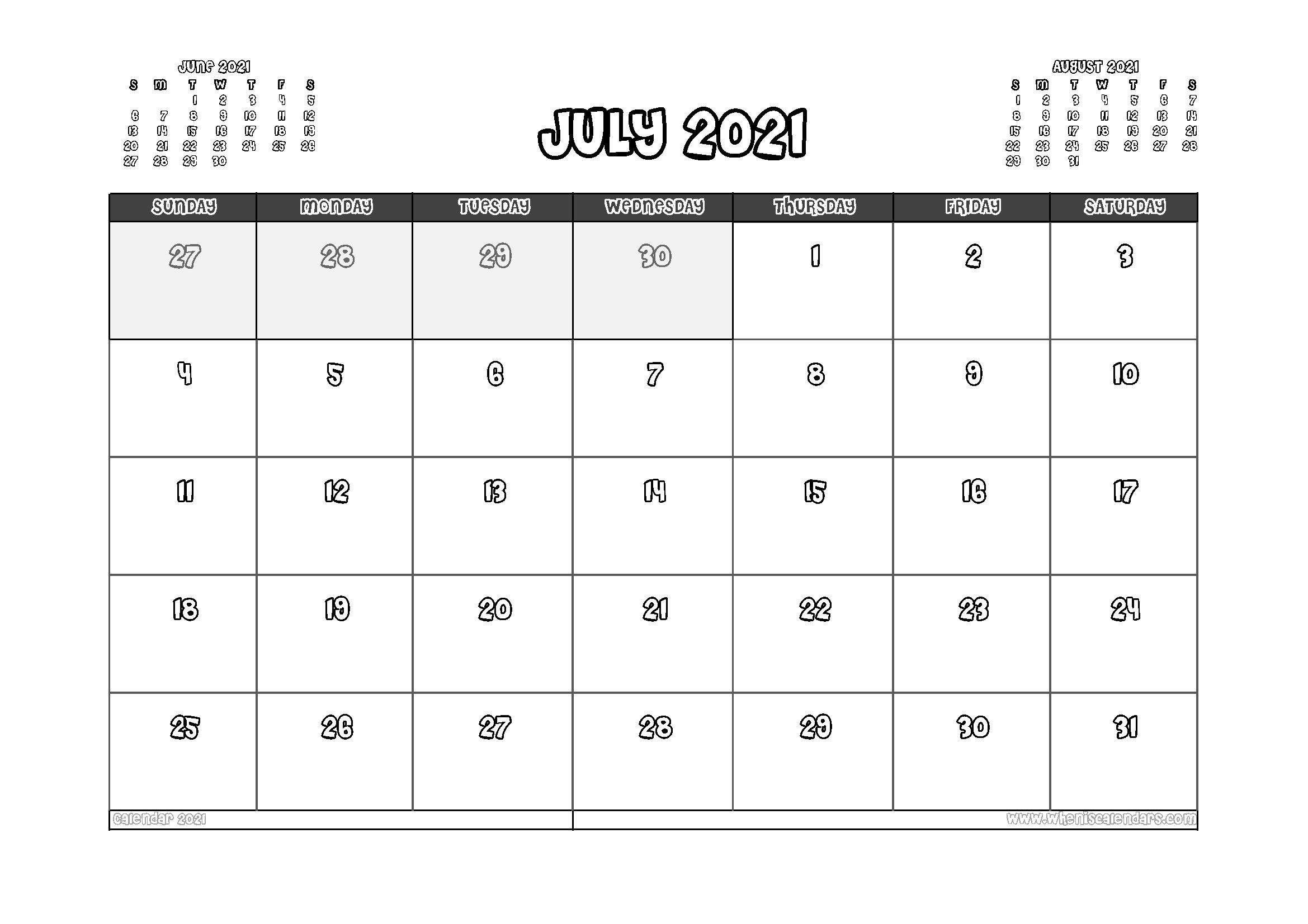 Free Printable July 2021 Calendar Australia