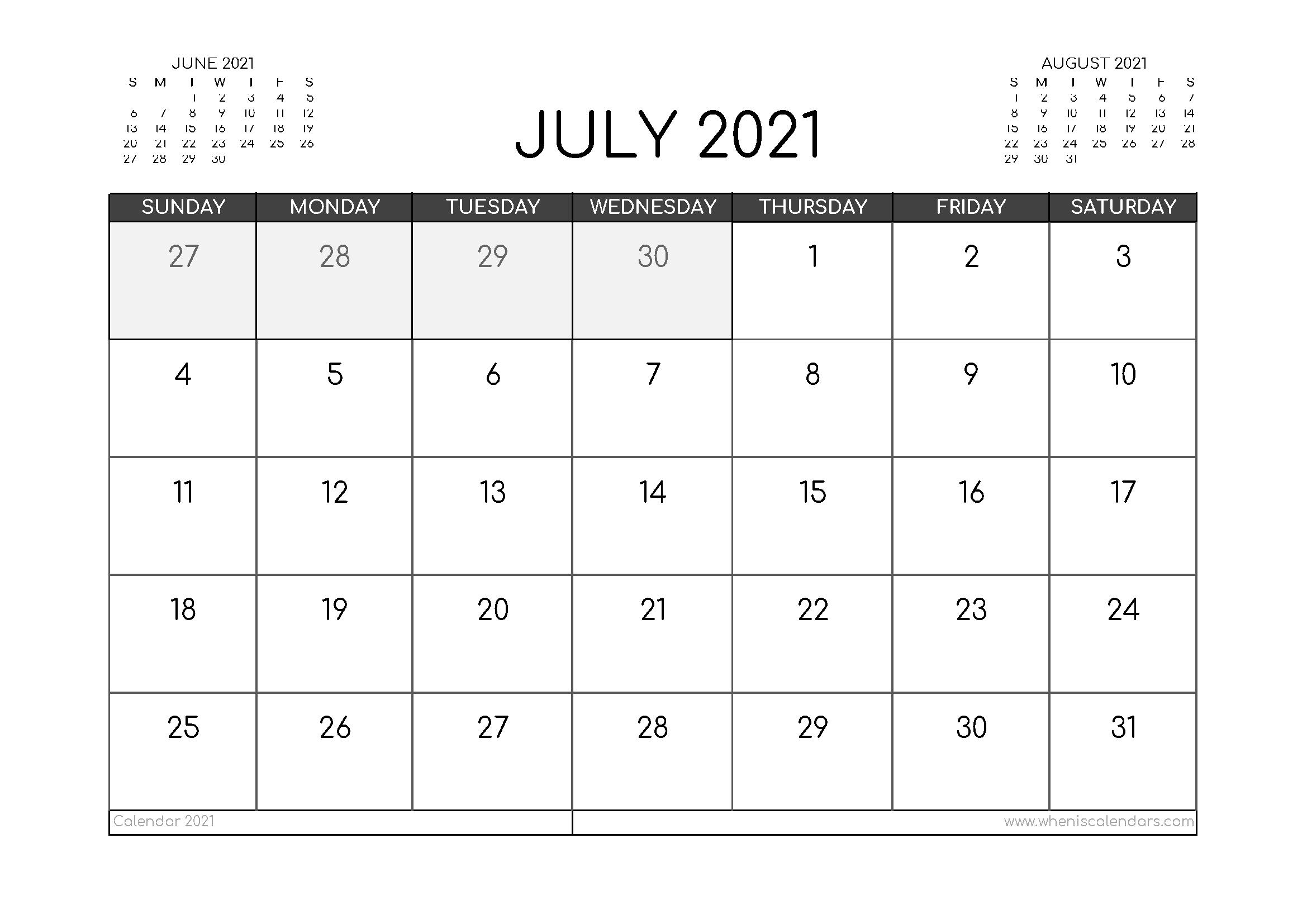 Free July 2021 Calendar Australia Printable