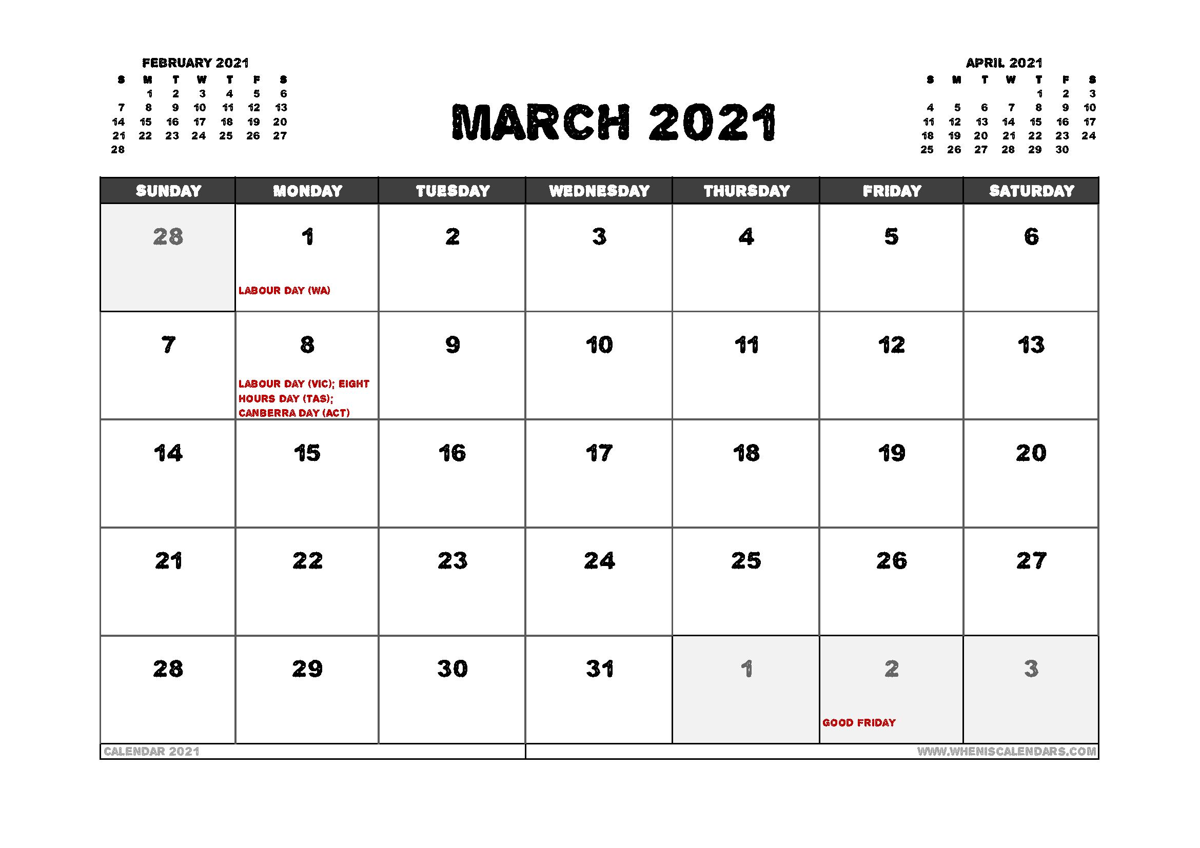 Free March 2021 Calendar Australia Printable