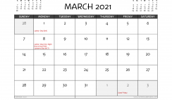 Free Printable March 2021 Calendar Australia
