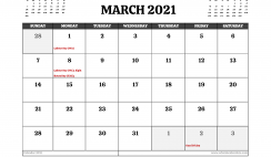 Printable March 2021 Calendar Australia