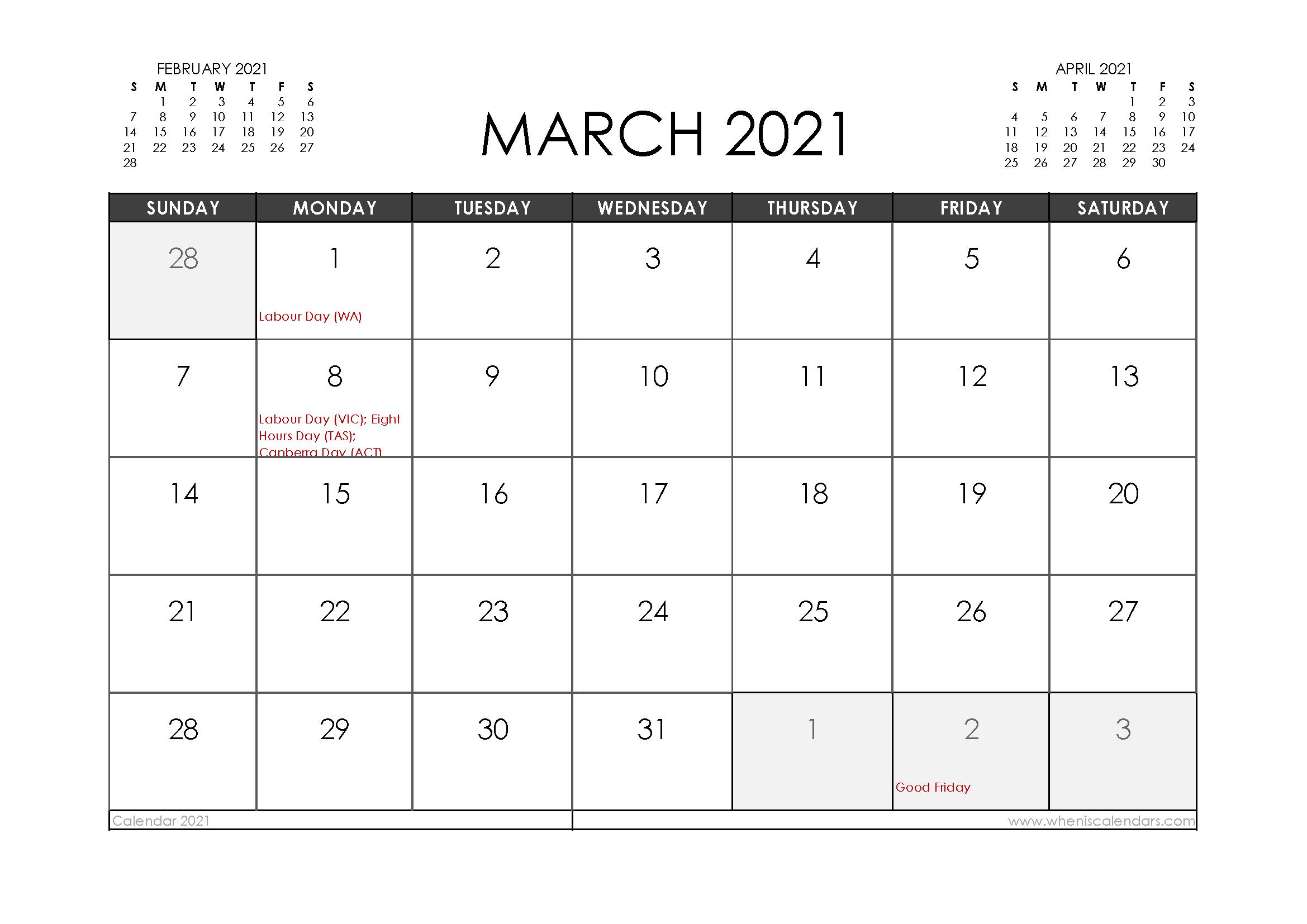 March 2021 Calendar Australia with Holidays