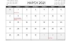 March 2021 Calendar Australia Printable