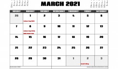 March 2021 Calendar Australia with Holidays