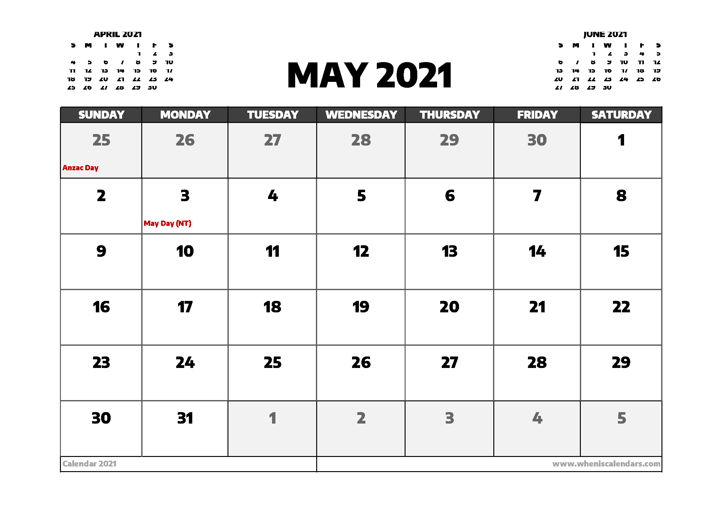 May 2021 Calendar Australia with Holidays