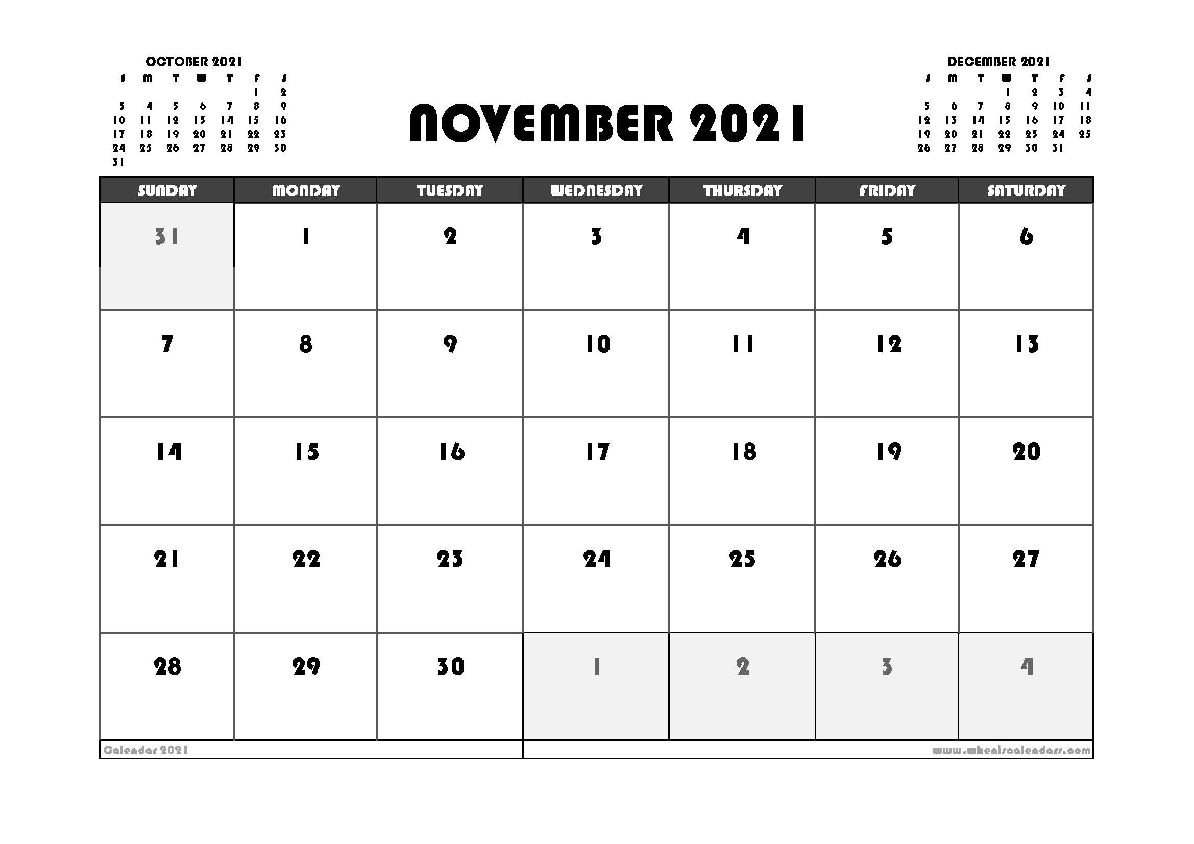 Free November 2021 Calendar Australia Printable