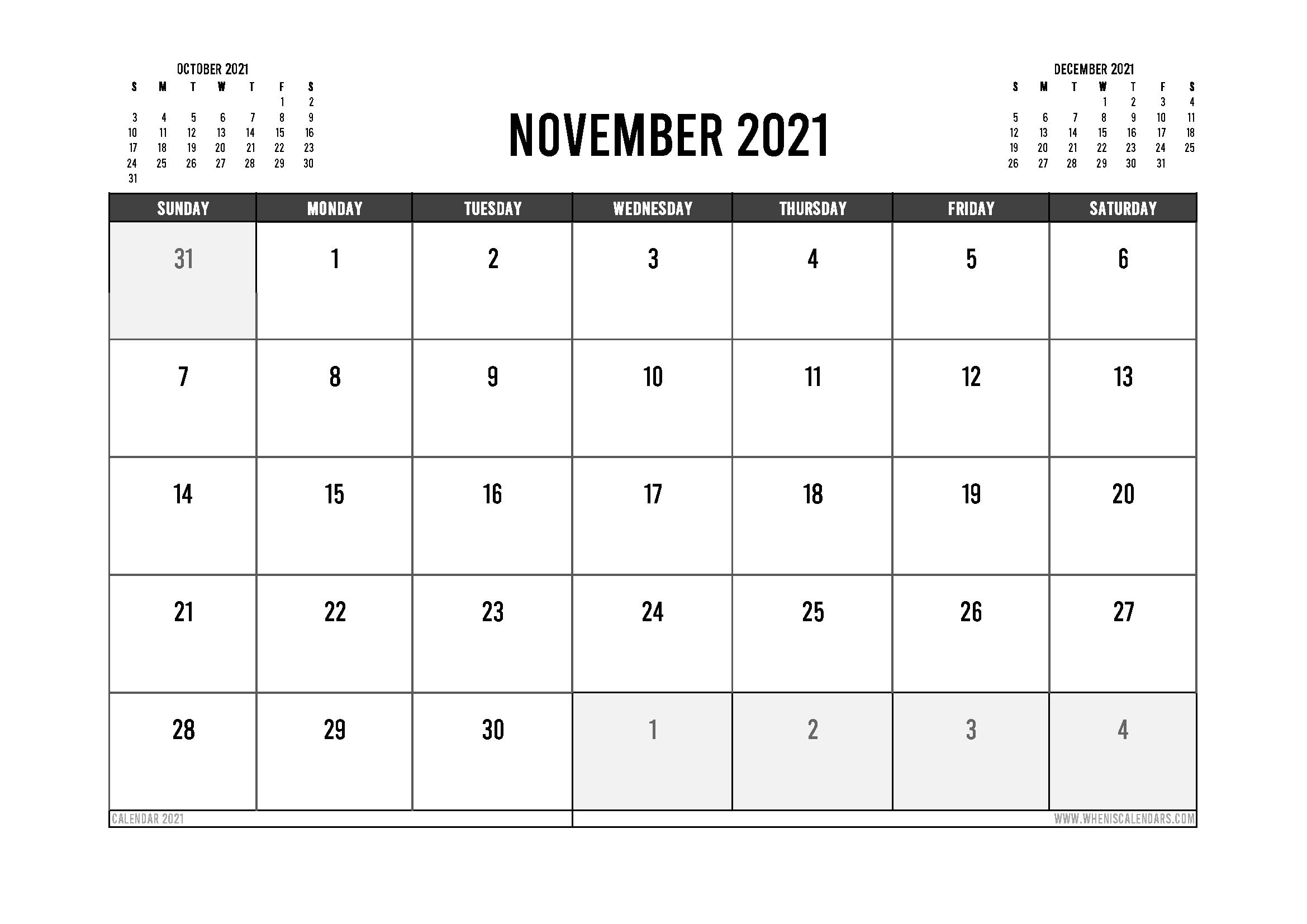 Printable November 2021 Calendar Australia