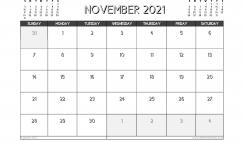 November 2021 Calendar Australia Printable