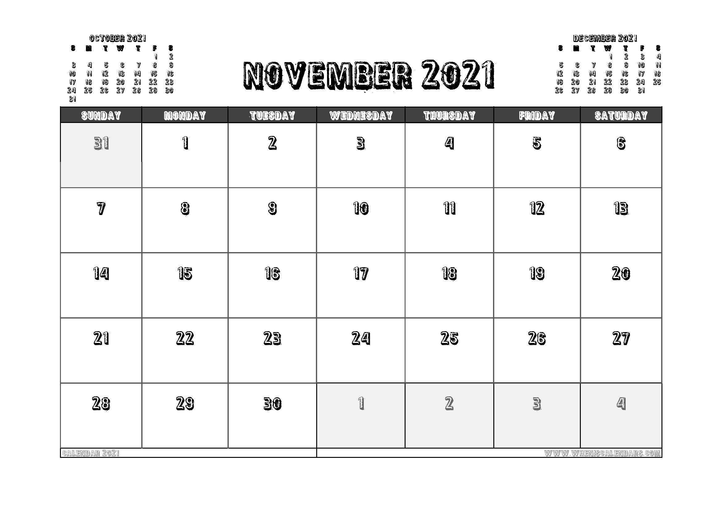 Free Printable November 2021 Calendar Australia