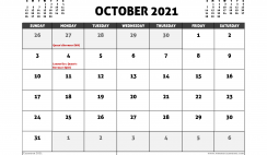 October 2021 Calendar Australia with Holidays
