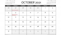 Free Printable October 2021 Calendar Australia