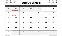 Free October 2021 Calendar Australia Printable