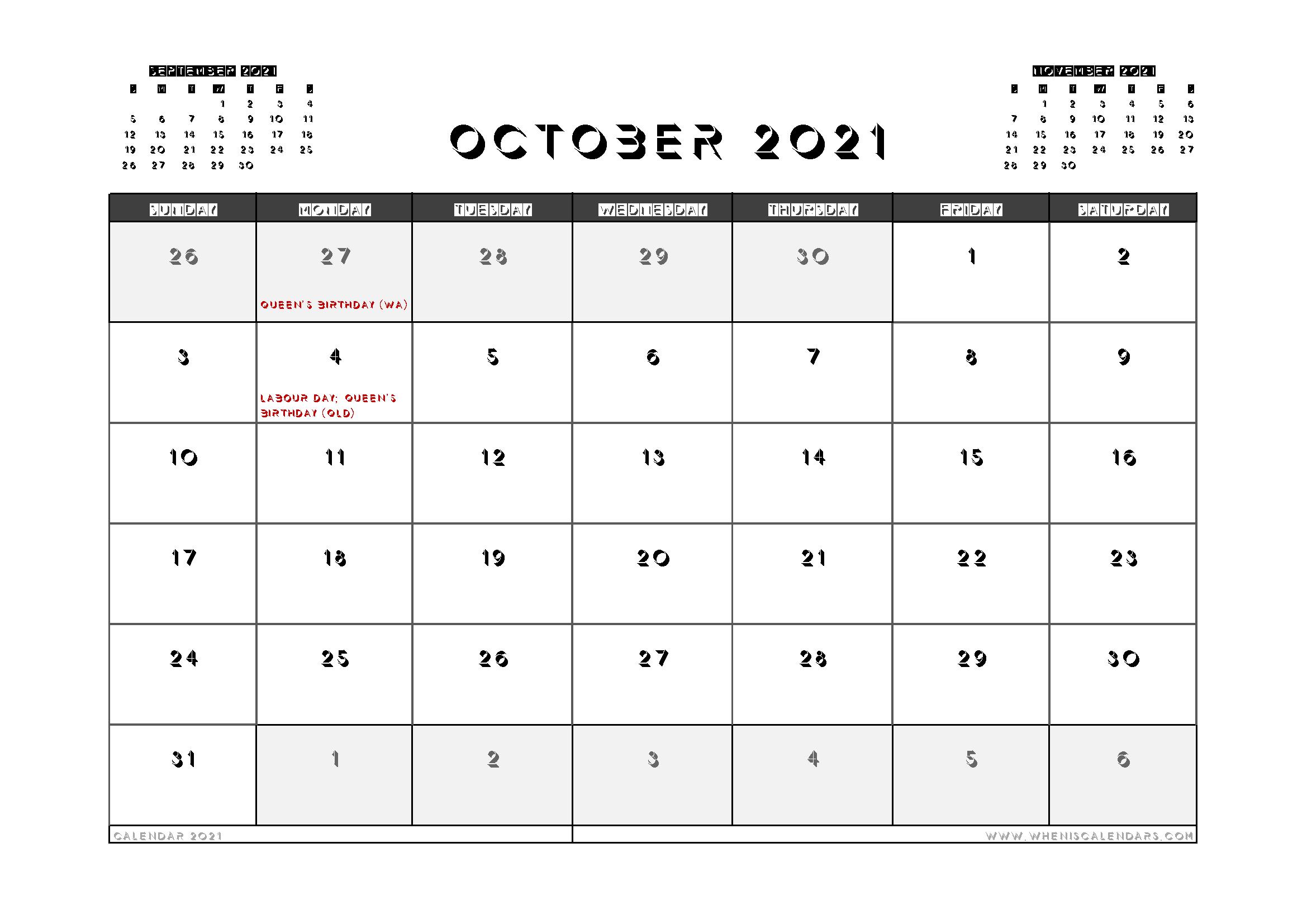 Printable October 2021 Calendar Australia