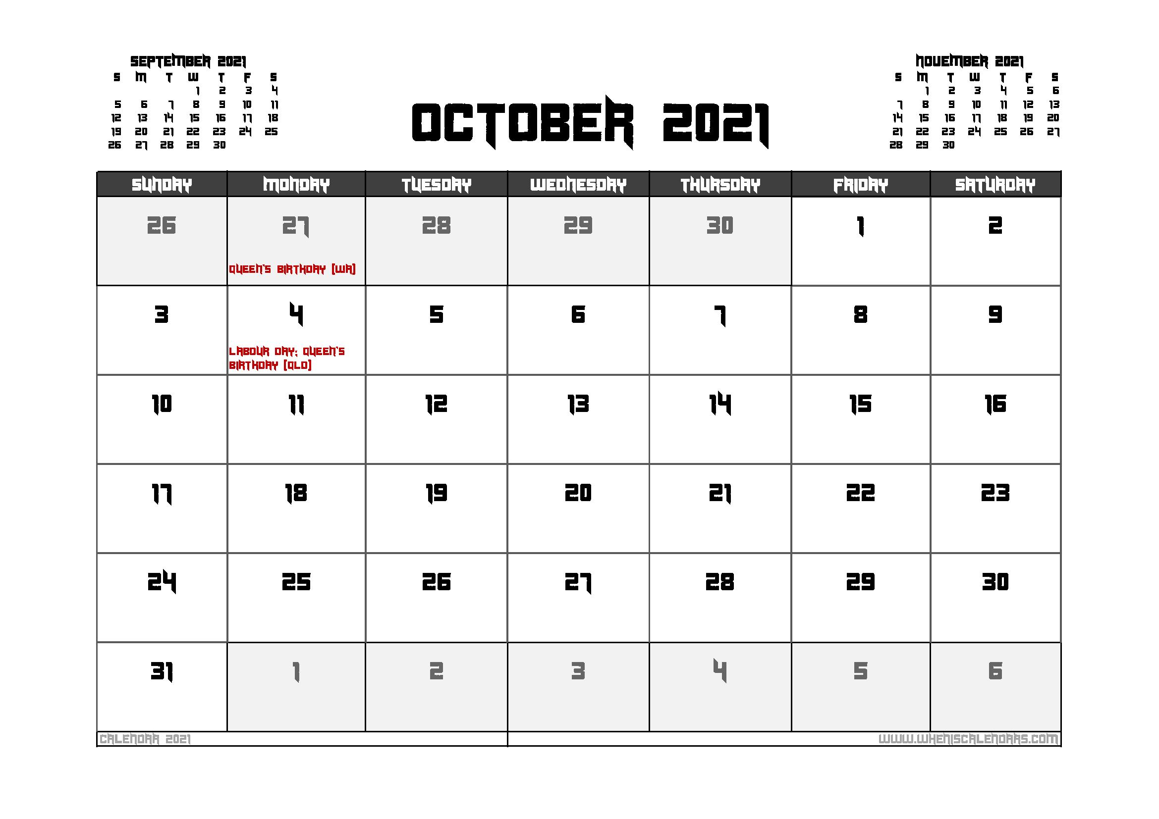 October 2021 Calendar Australia Printable