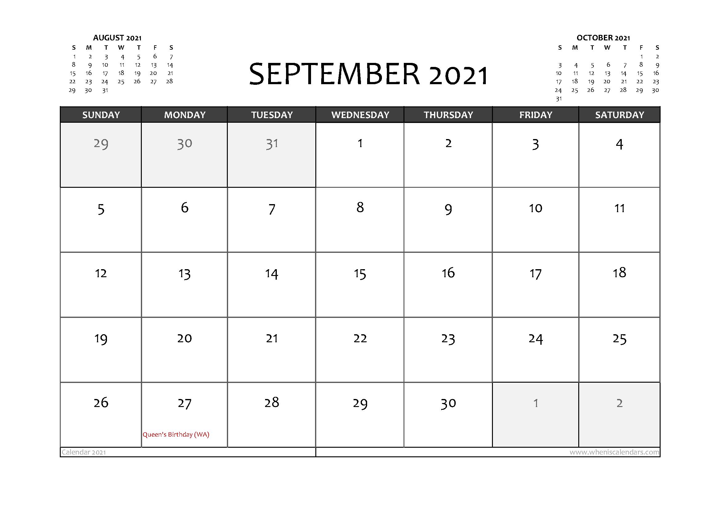 Free Printable September 2021 Calendar Australia