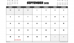 Free September 2021 Calendar Australia Printable