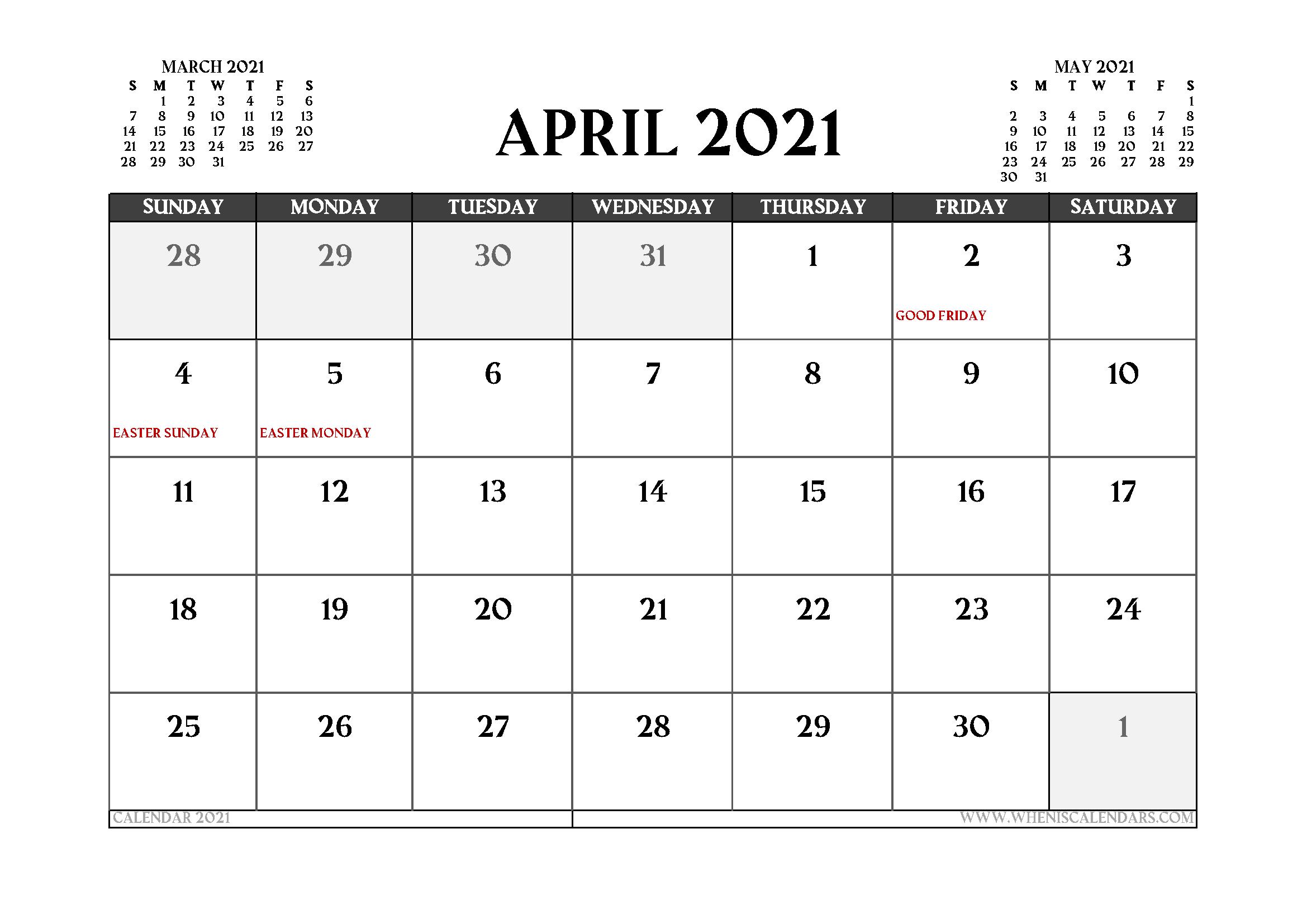 April 2021 Calendar With Holidays Canada