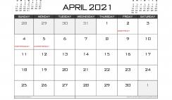 Printable April 2021 Calendar Canada