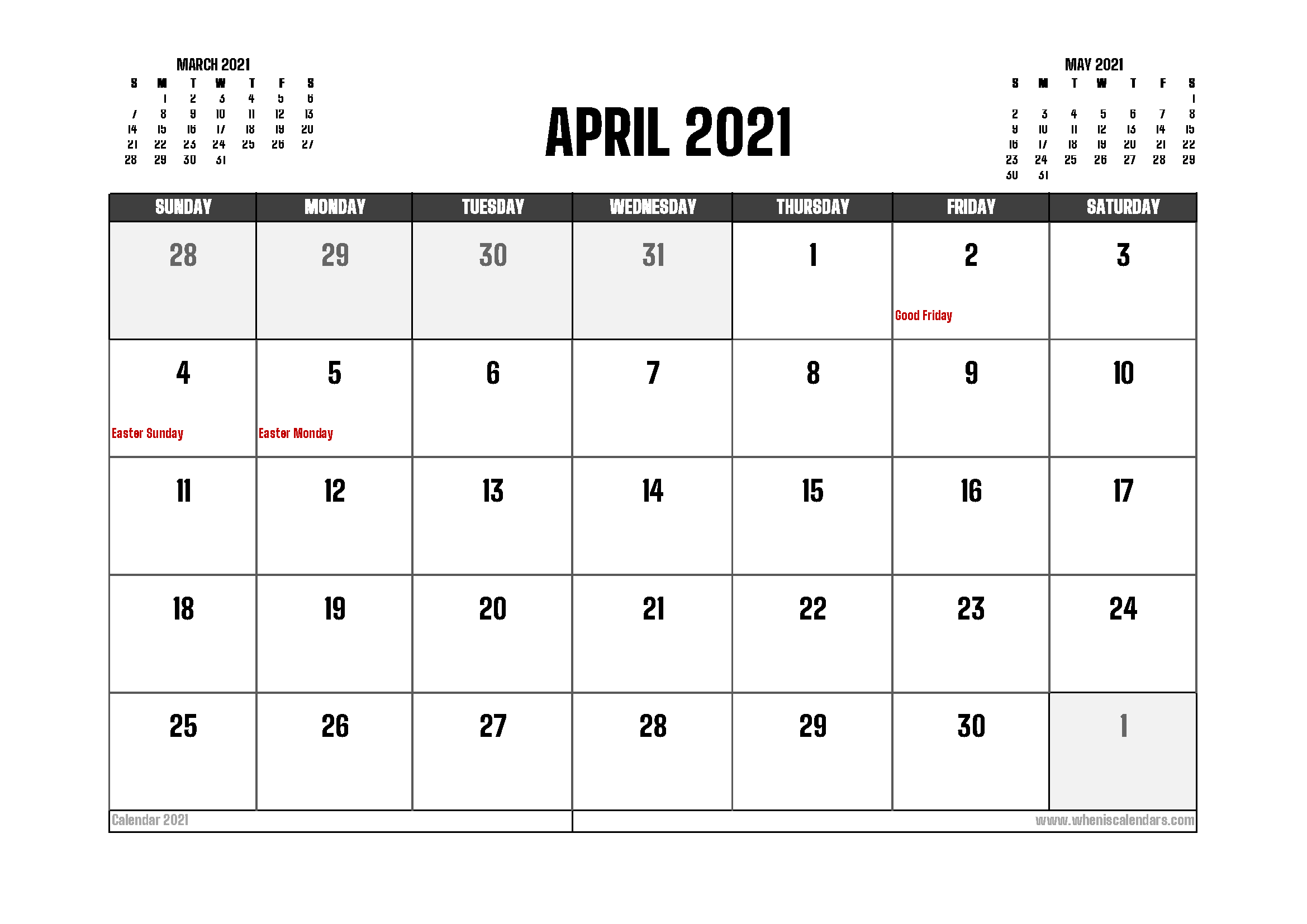 April 2021 Calendar Canada Printable