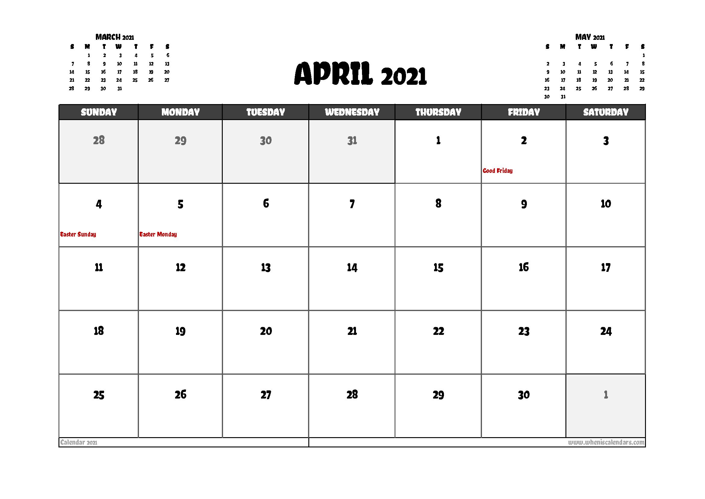 Free April 2021 Calendar Canada Printable