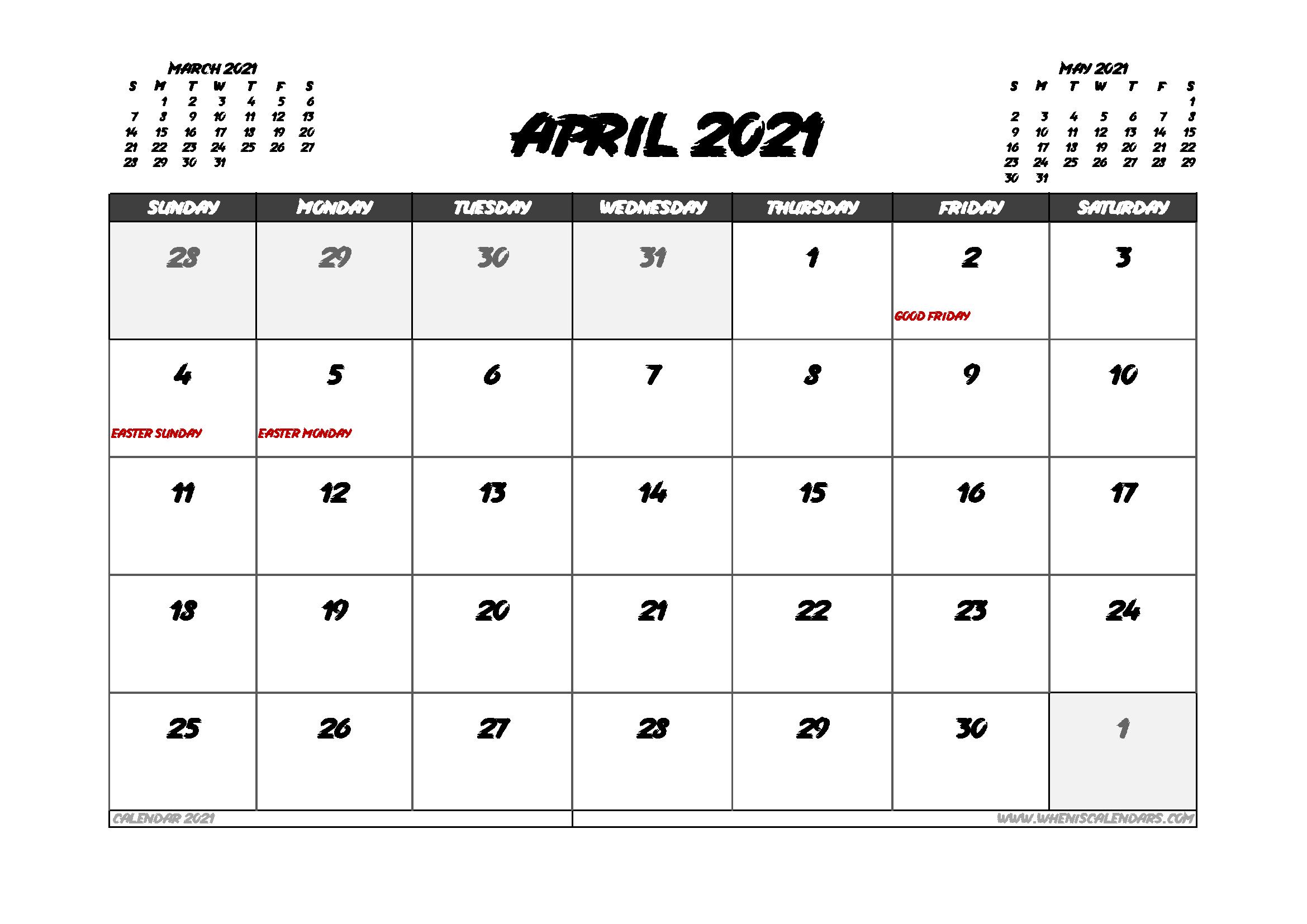April 2021 Calendar Canada with Holidays
