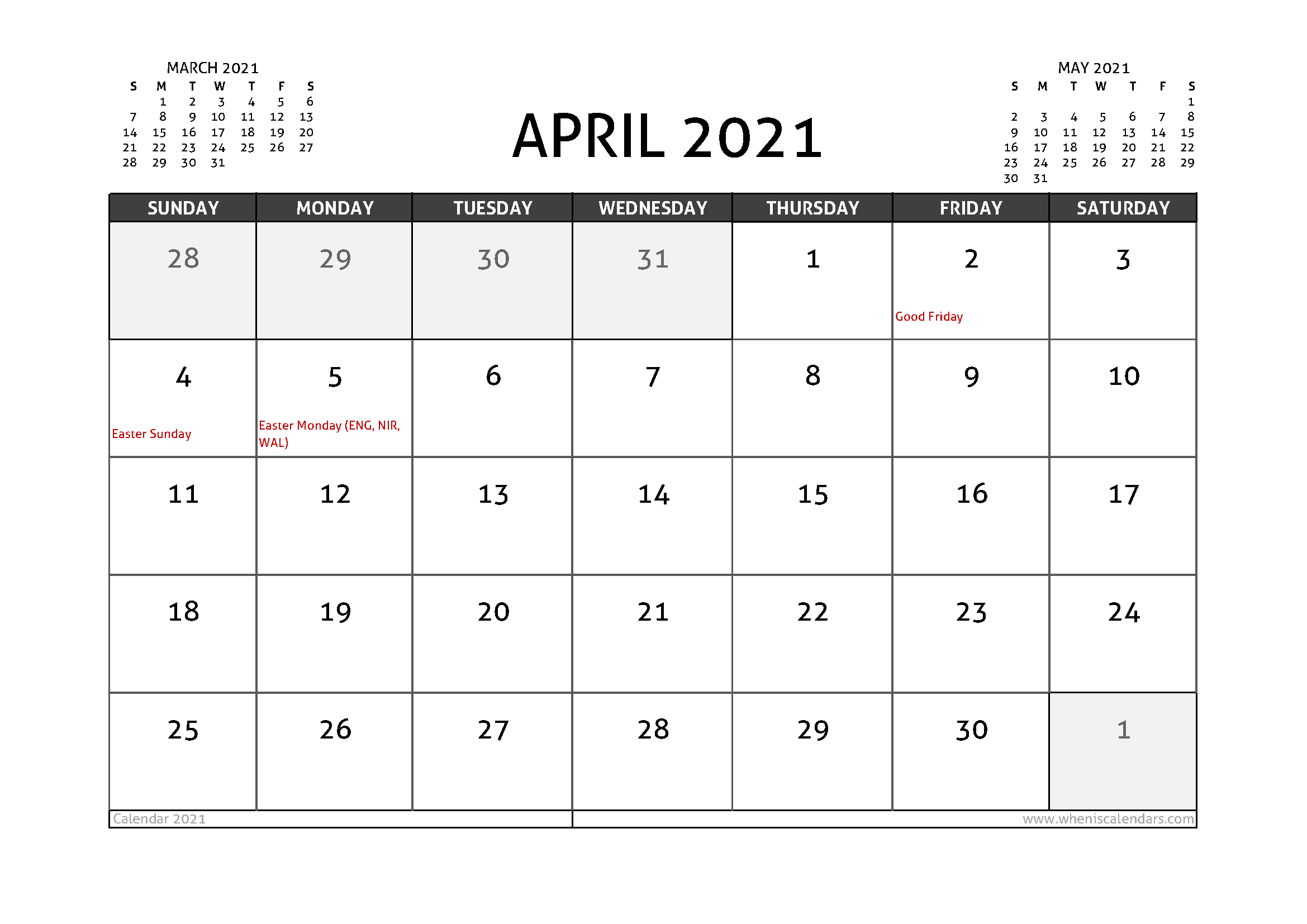 April 2021 Calendar UK with Holidays - Free Printable 2020 ...